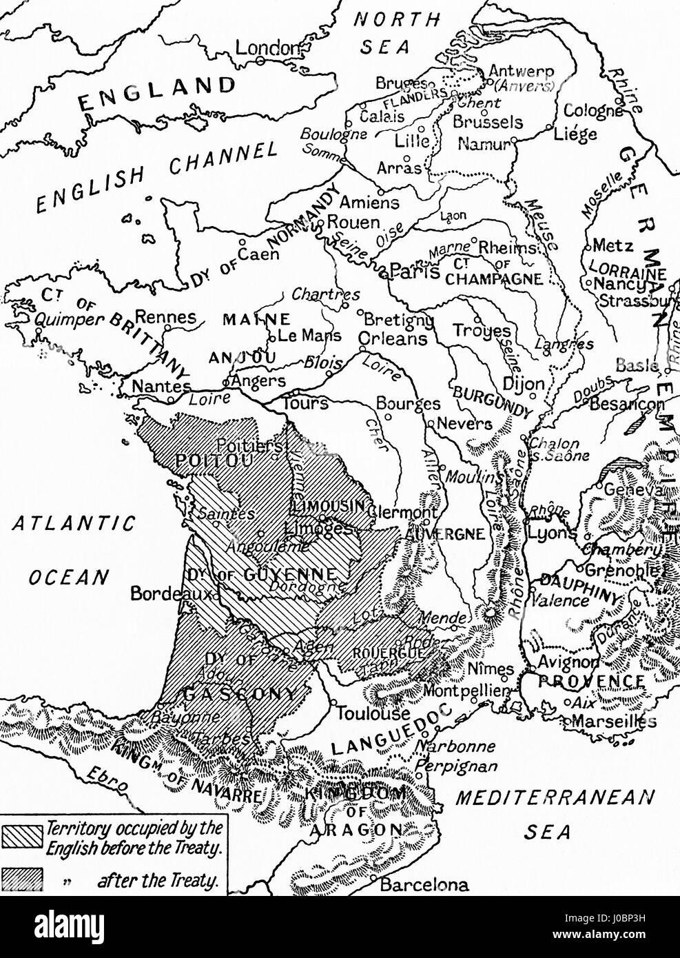 Una mappa della Francia dopo il Trattato di Bretigny, 1360. Da Hutchinson nella storia delle nazioni, pubblicato Immagini Stock