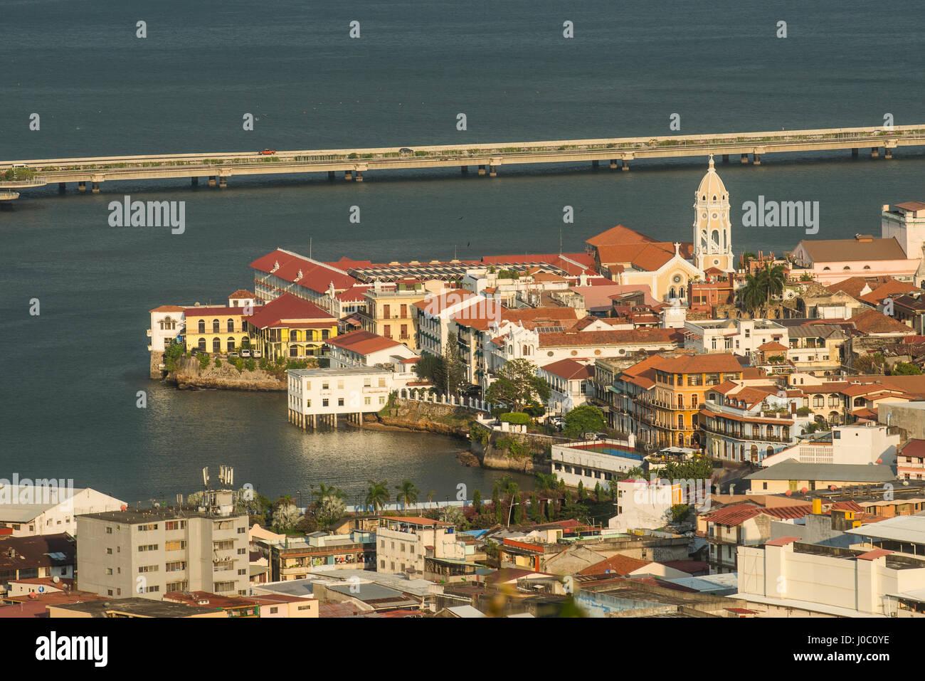 Vista di Casco Viejo, Sito Patrimonio Mondiale dell'UNESCO, Panama City, Panama America Centrale Immagini Stock