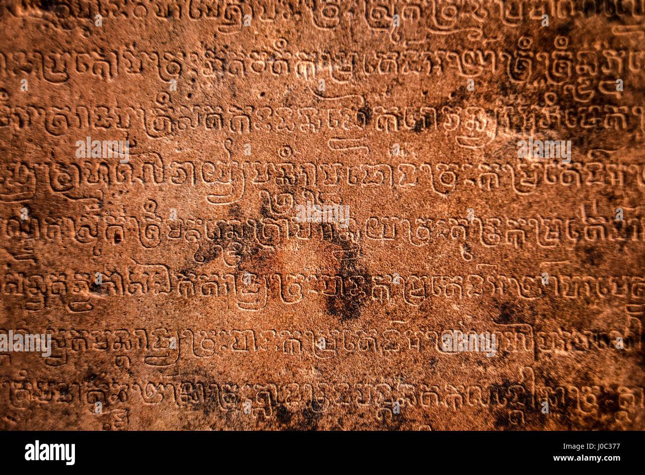 Il sanscrito su un tempio di Angkor Wat, Cambogia. Immagini Stock