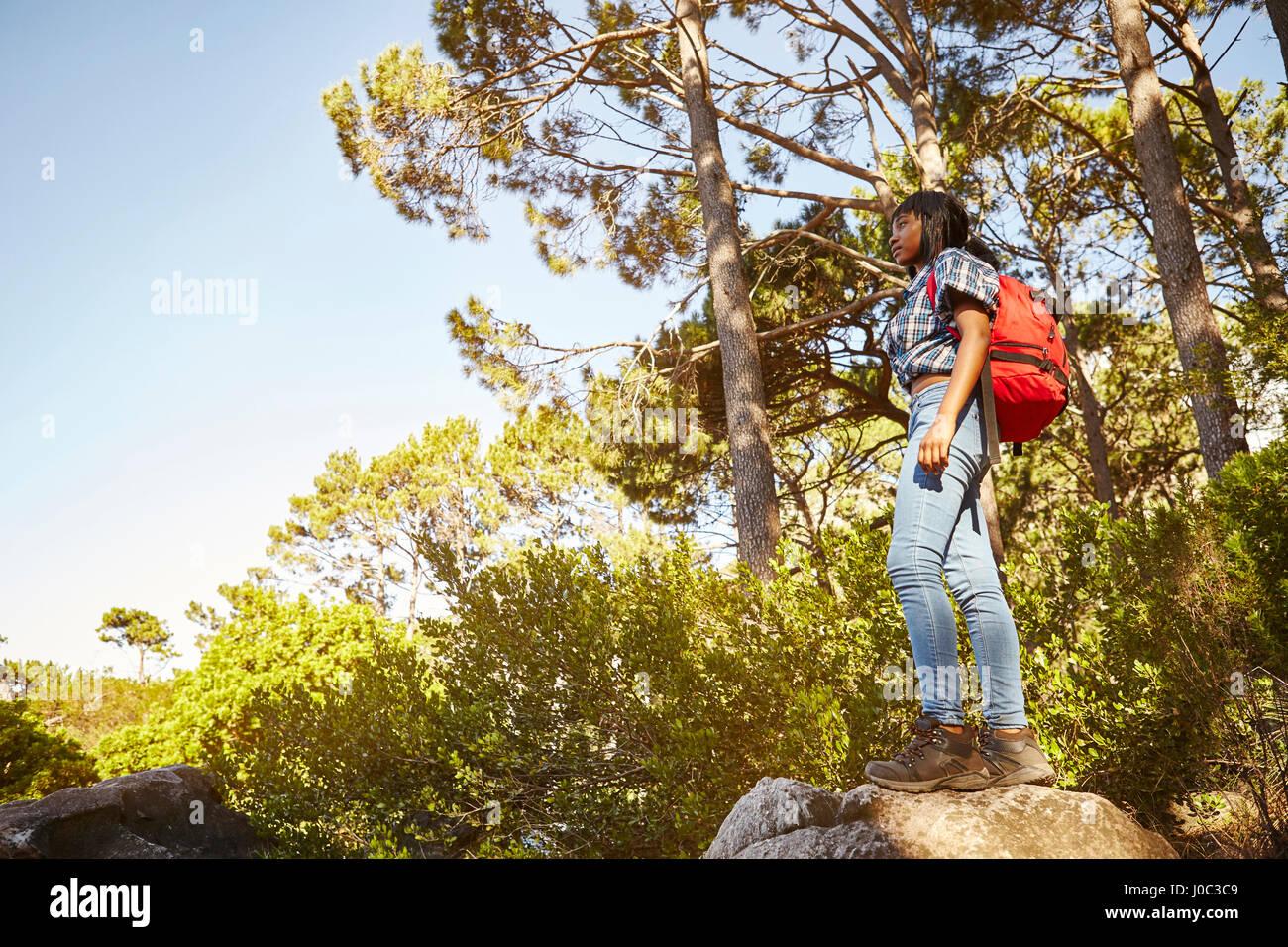 Giovane donna in piedi sulla roccia, guardando a vista, Cape Town, Sud Africa Immagini Stock