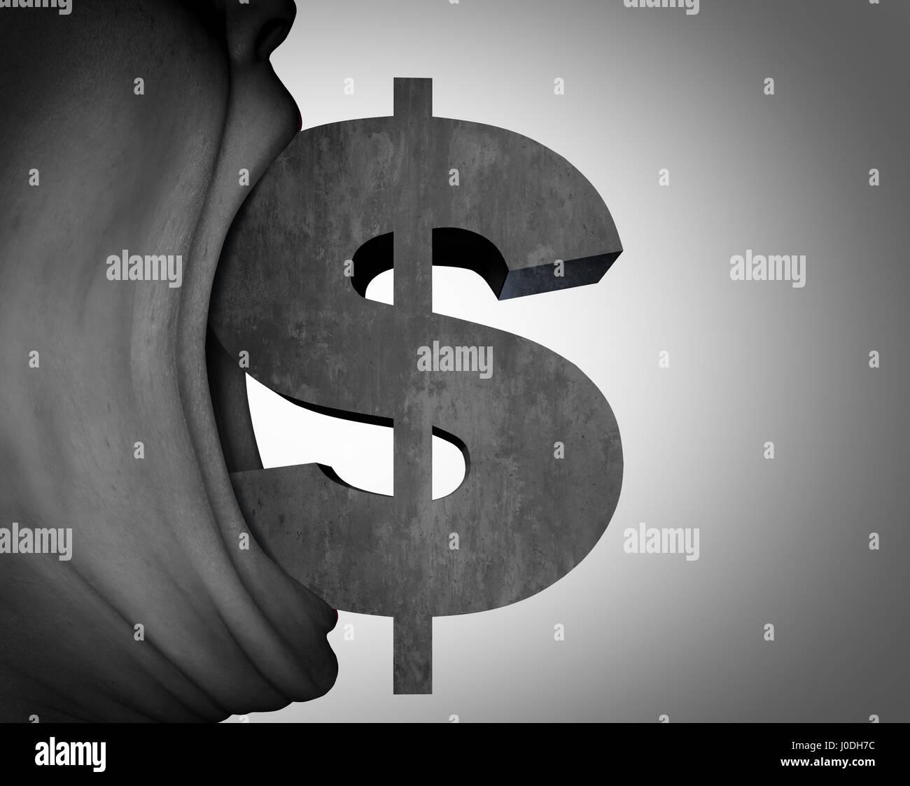 Affamato di denaro e avidità o consigli finanziari concetto come una bocca golosa con il segno del Dollaro Immagini Stock