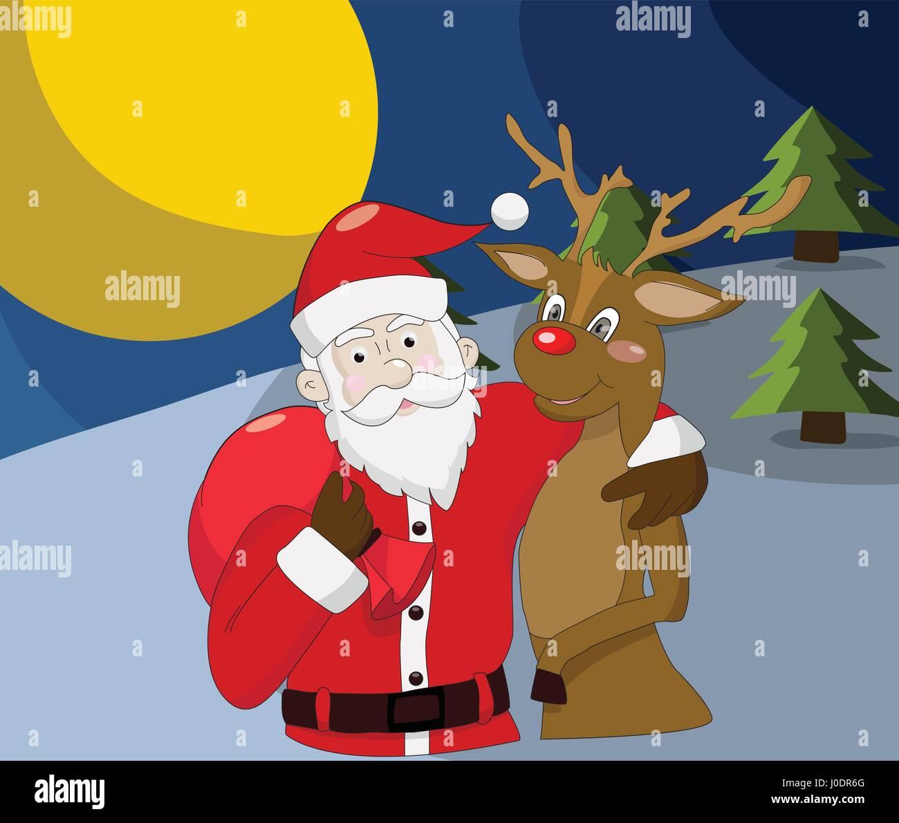 Sfondi Babbo Natale.Babbo Natale Con Le Renne Nella Notte Di Natale Sfondo Immagine E Vettoriale Alamy