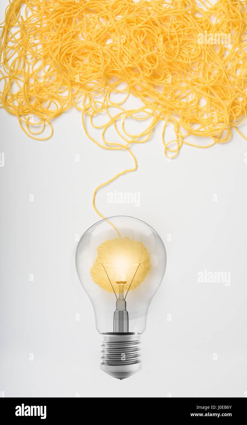 Concetto di idea e innovazione con Lana palla Immagini Stock
