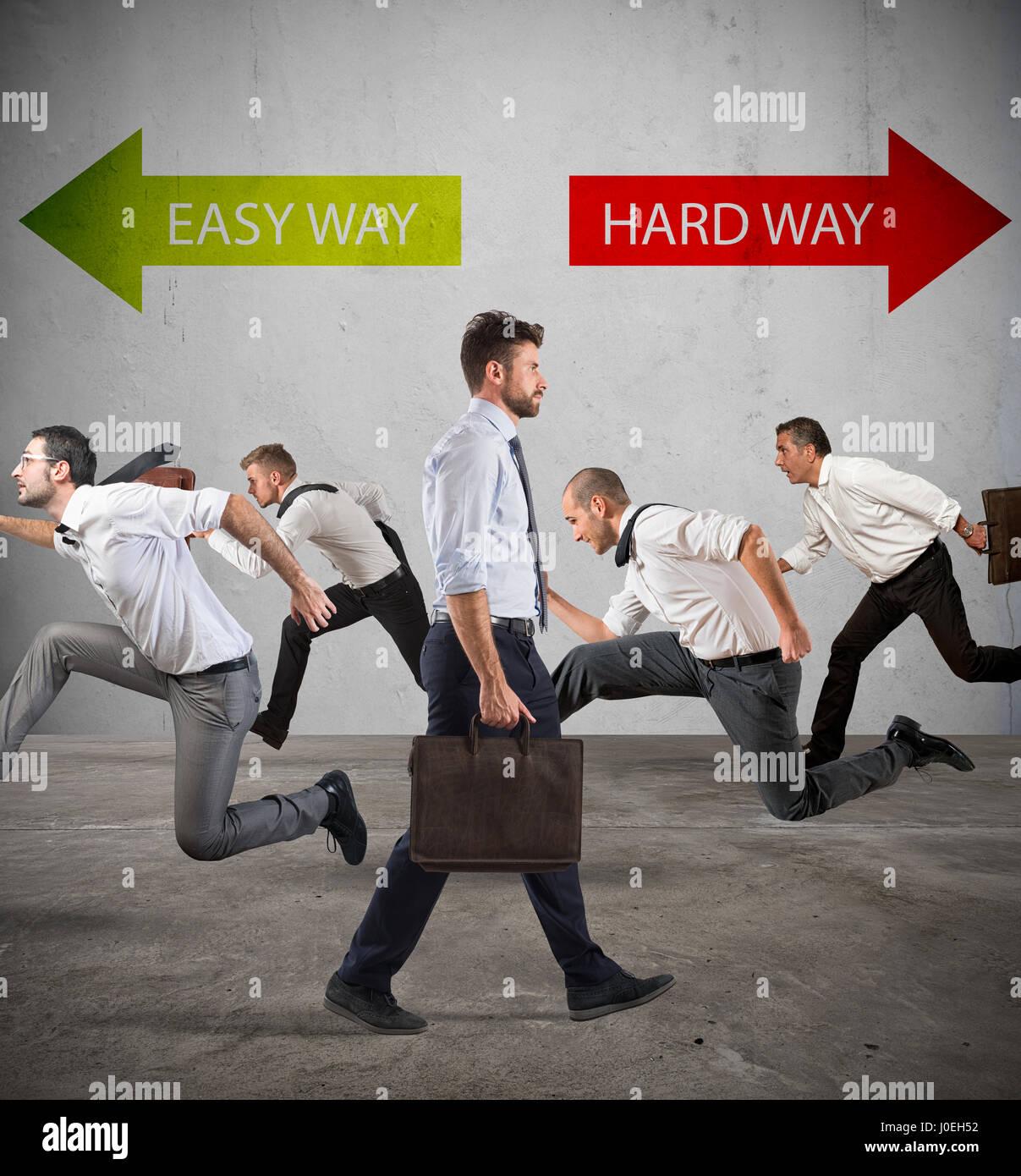 Seguire la via più difficile per il successo. Immagini Stock