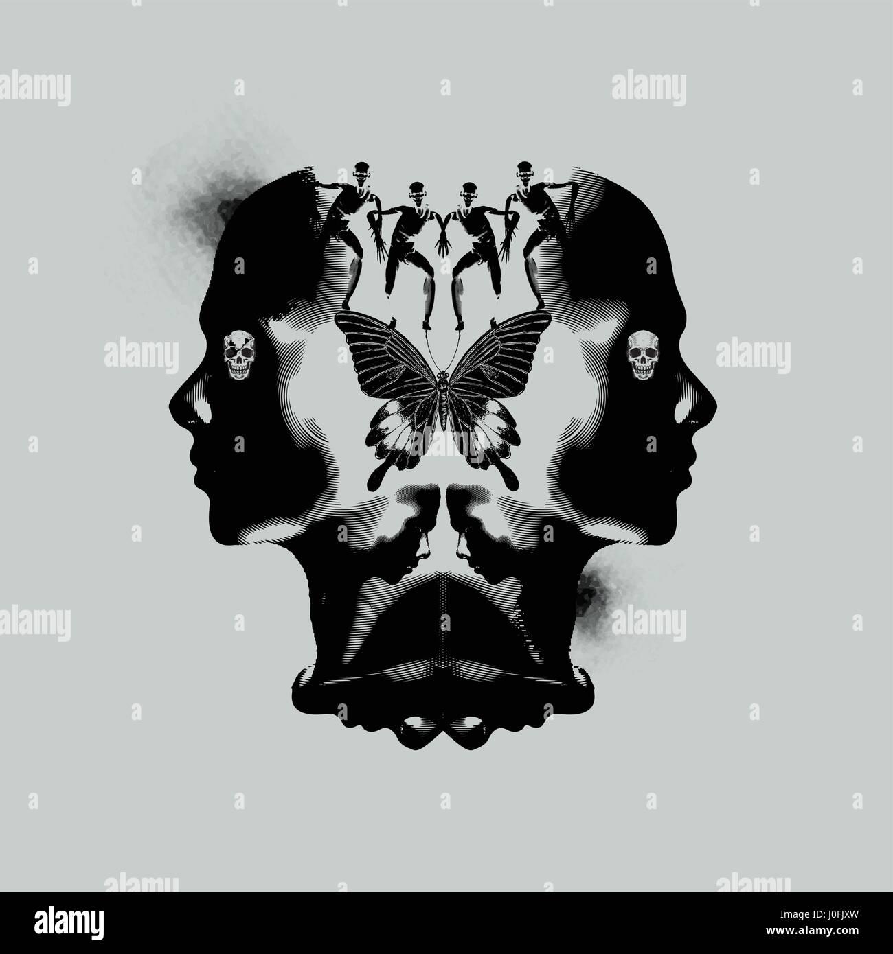La mente umana, pensando ed emotivo di illustrazione astratta scuro con macchie di inchiostro. Immagini Stock