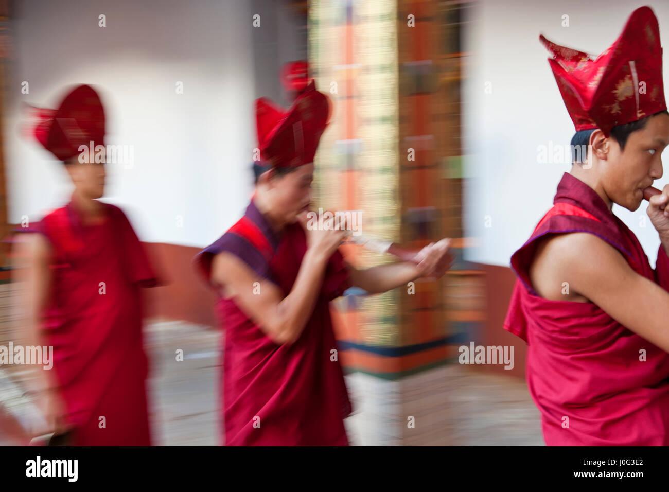 I monaci di effettuare cerimonia buddista, Punakha Dzong (monastero), Punakha, Bhutan Immagini Stock