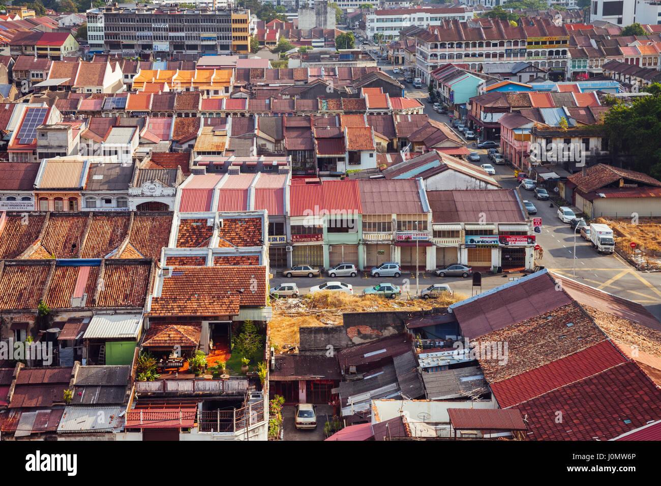 Georgetown, Malesia - 27 Marzo 2016: vista panoramica sulla parte storica della Georgetown il 27 marzo 2016 in Penang, Immagini Stock