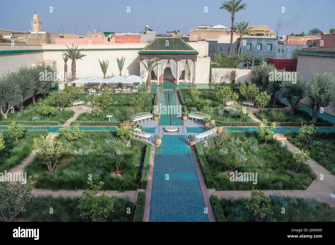 Marrakech giardino segreto giardino islamico layout Immagini Stock