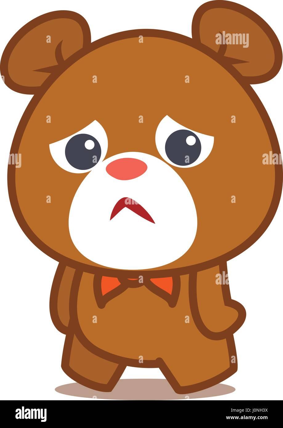 Triste carattere orso illustrazione vettoriale Illustrazione Vettoriale