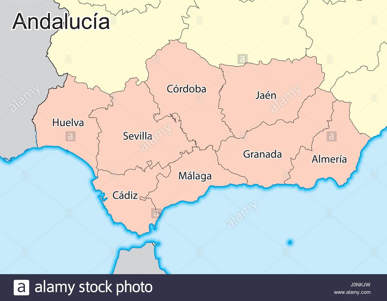 Cartina Andalusia Spagna.Mappa Vettoriale Della Comunita Autonoma Di Andalusia Spagna Gli Elementi Di Questa Immagine Fornita Dalla Nasa Immagine E Vettoriale Alamy