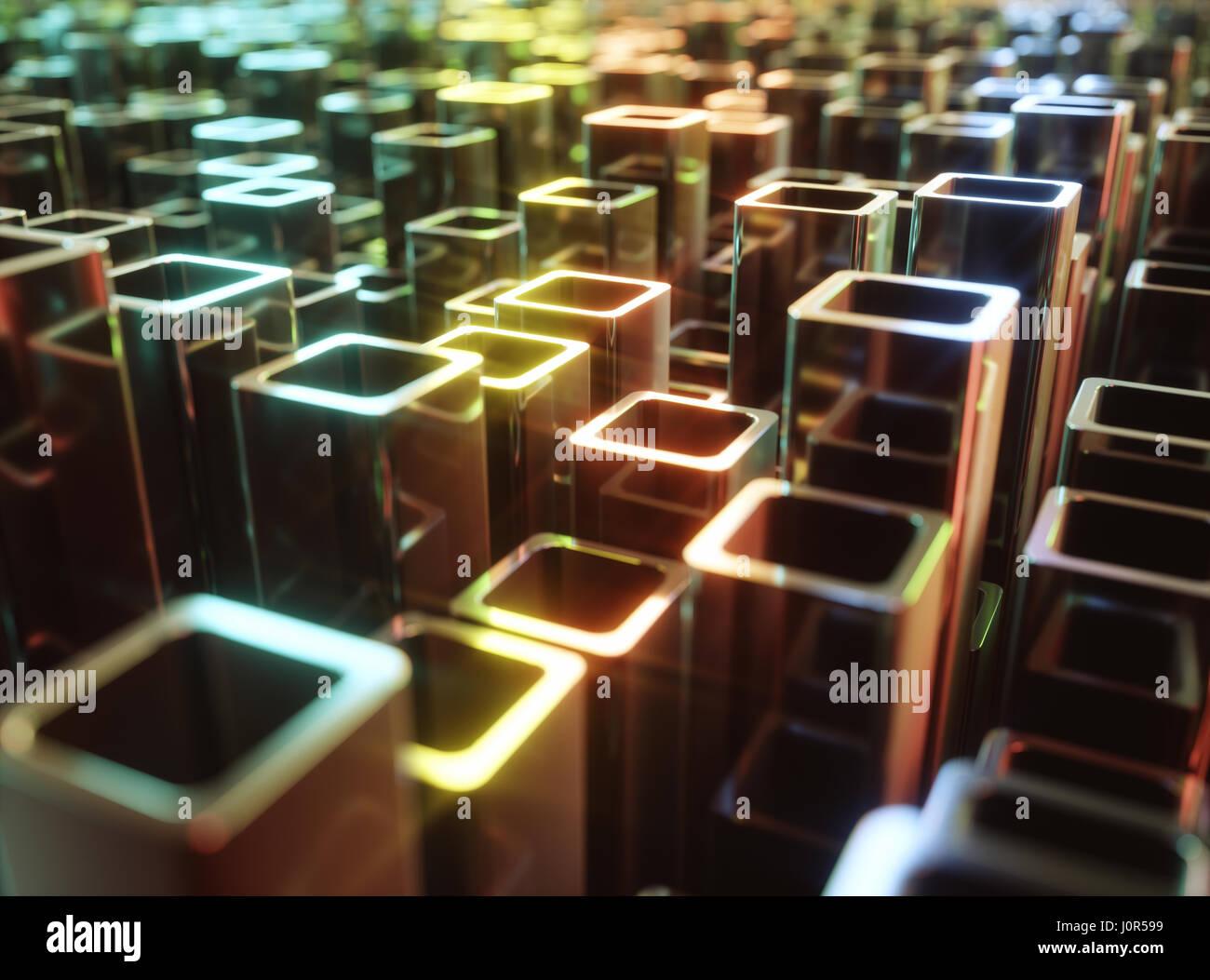 3D'illustrazione. Abstract sfondo costituito da tubi metallici che riflettono luci colorate. Immagini Stock