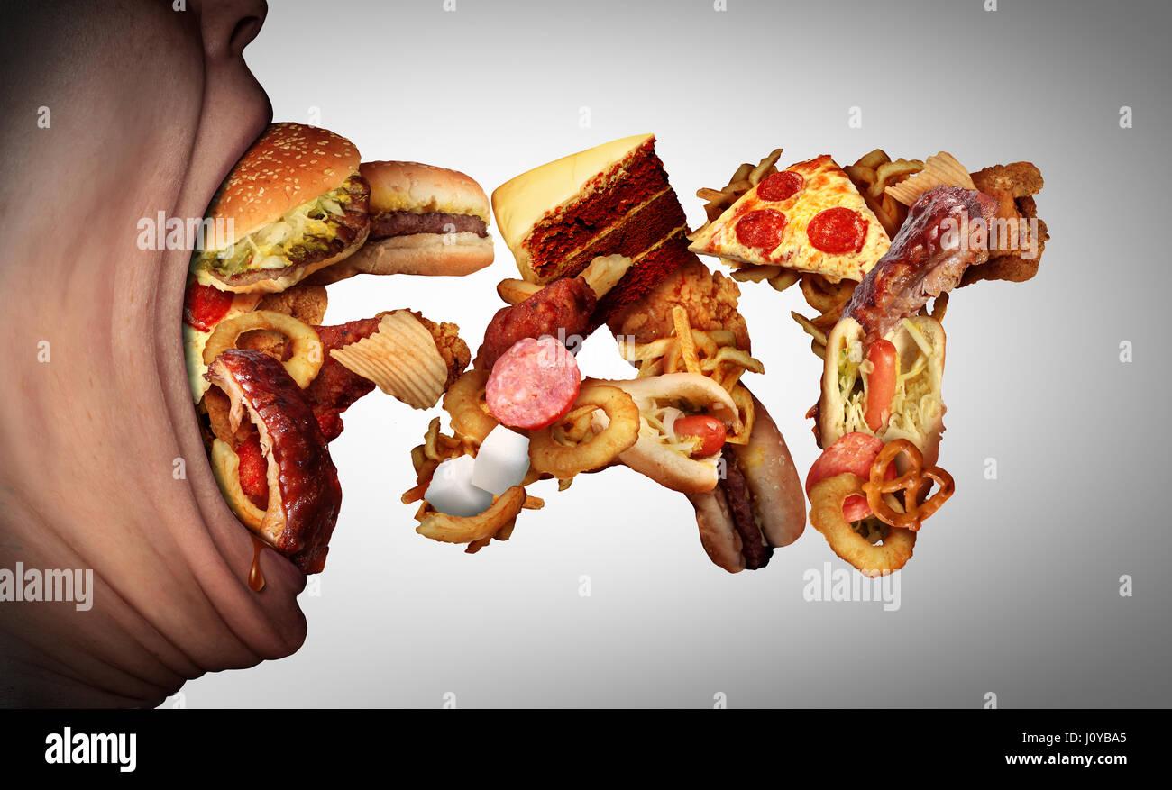 Mangiare cibo grasso concetto come una bocca aperta di mordere in malsana snack a forma di testo come una cattiva Immagini Stock