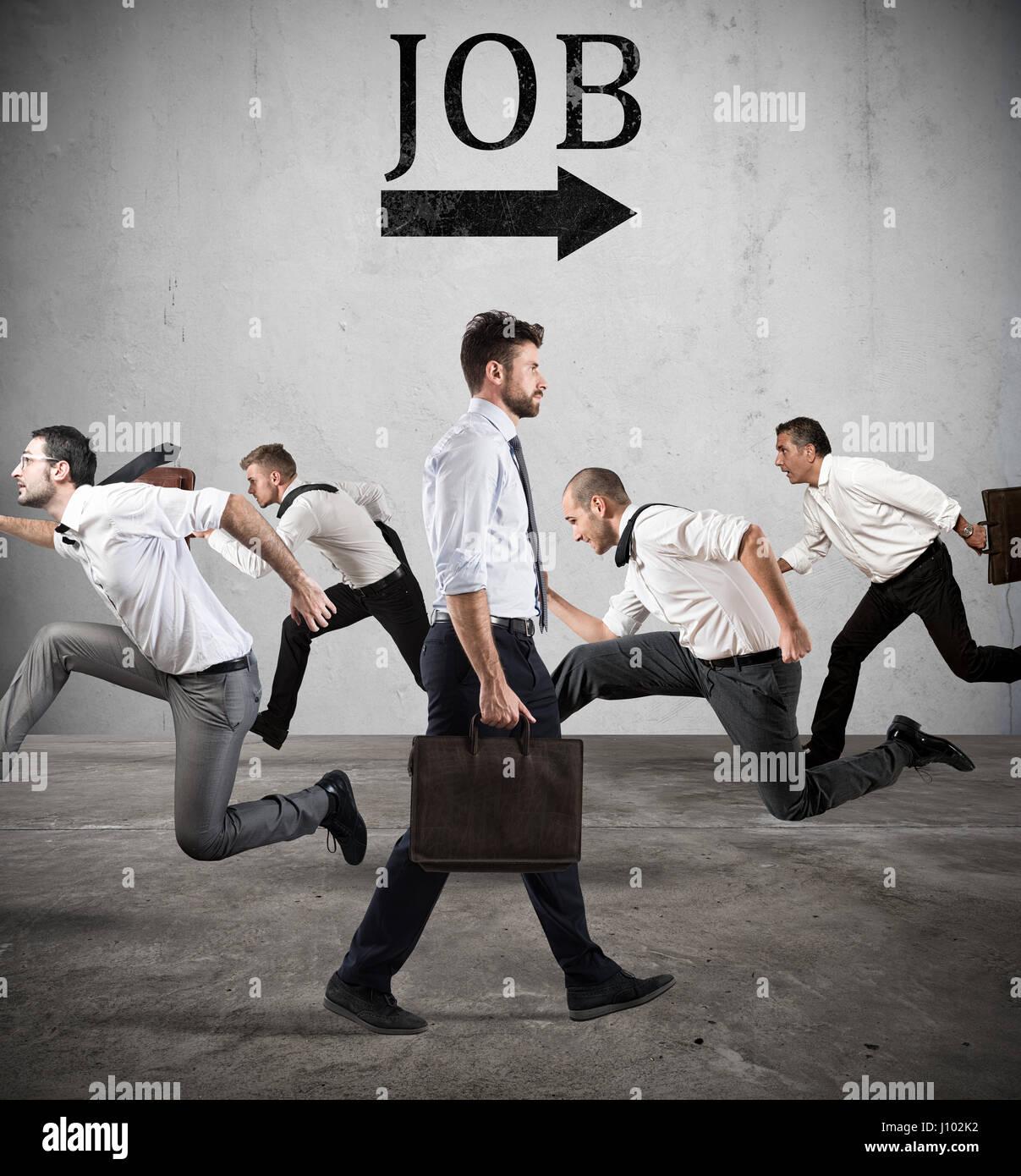 Seguire la freccia di lavoro. La paura del lavoro Immagini Stock