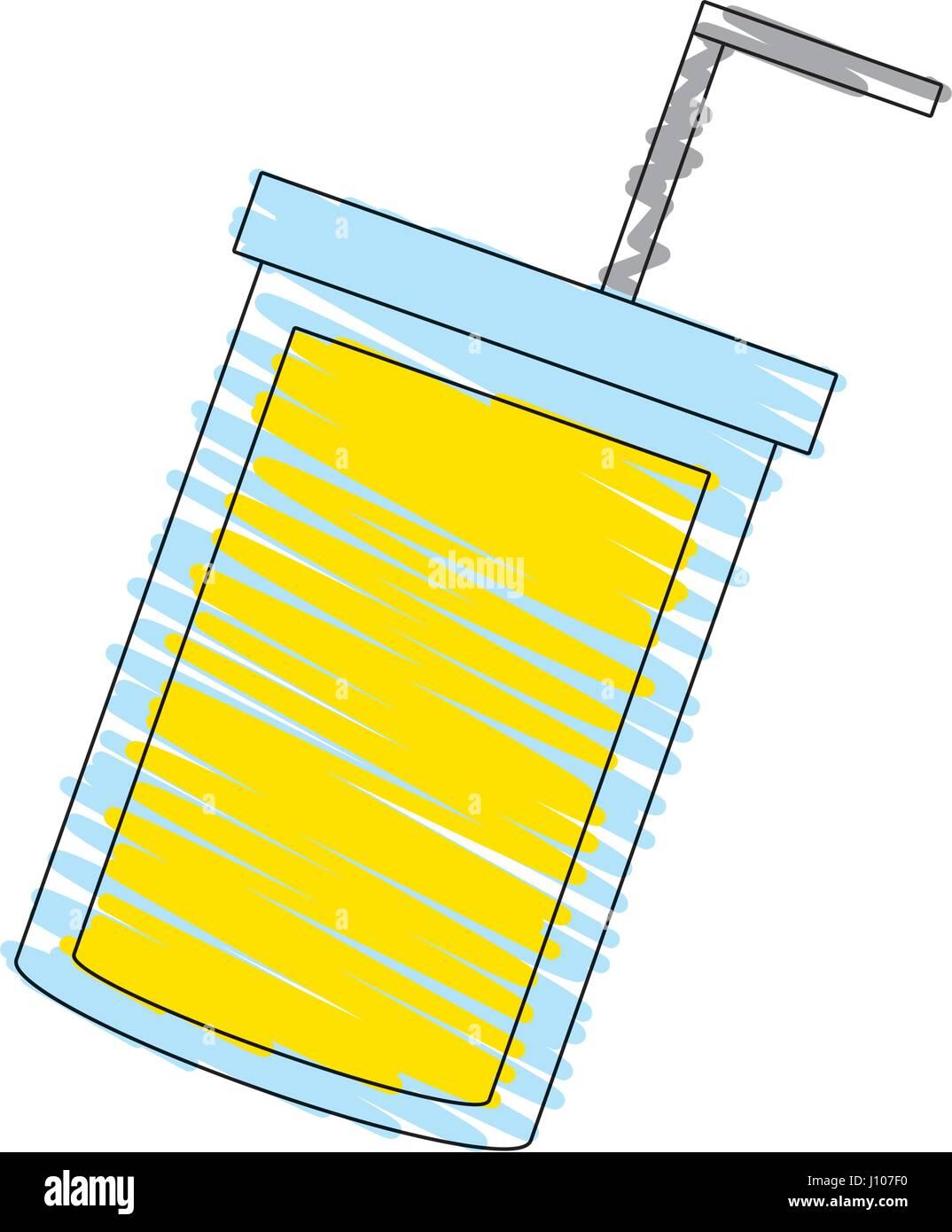 Disegno Tazza Succo Immagine Della Paglia Illustrazione Vettoriale