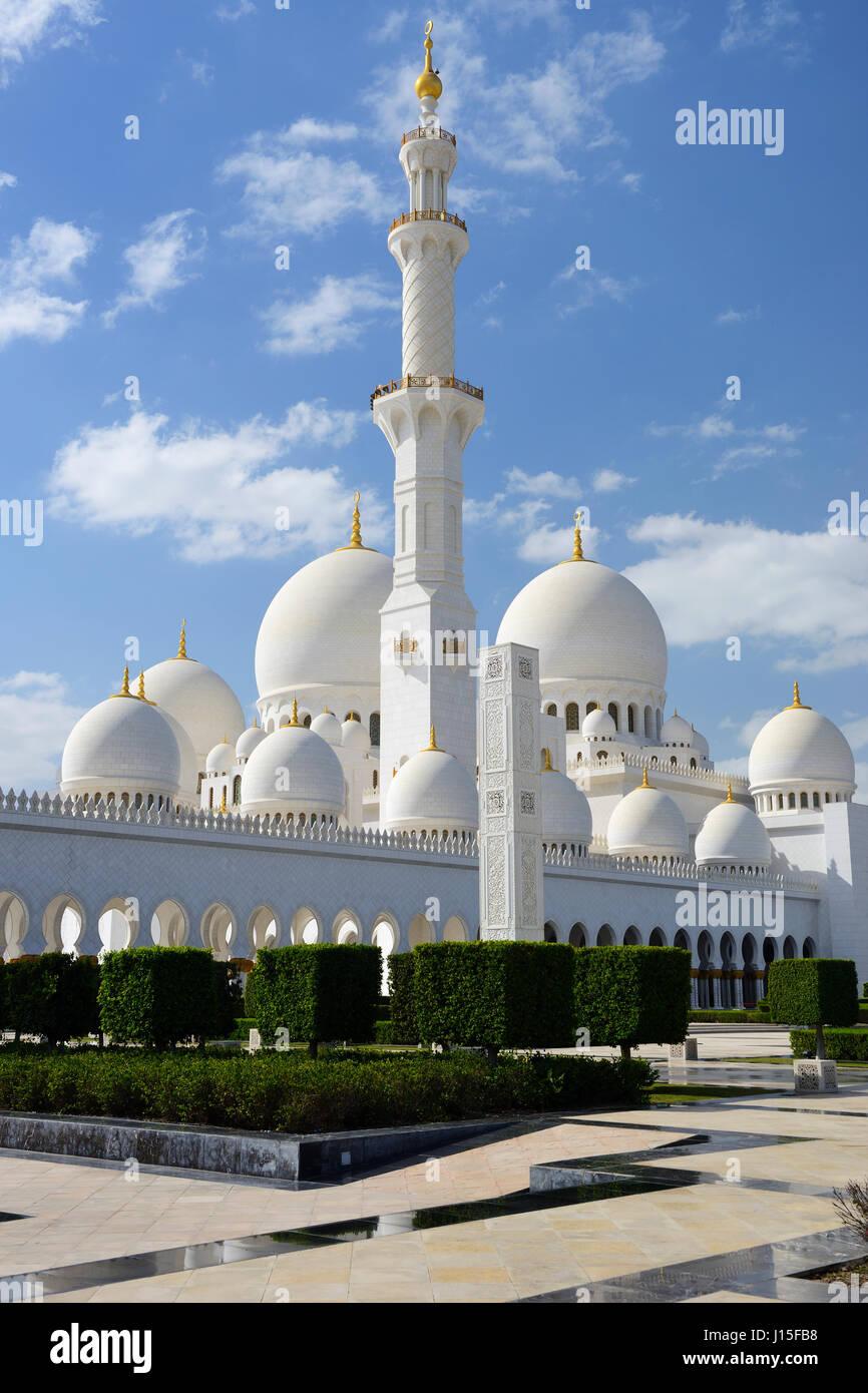 Sheikh Zayed Grande Moschea di Abu Dhabi, Emirati Arabi Uniti, Medio Oriente Immagini Stock