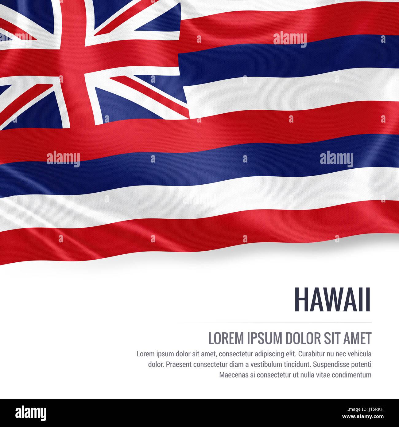 77a189638a284b Bandiera di stato degli Stati Uniti Hawaii sventolando isolato su un fondo  bianco. Il nome