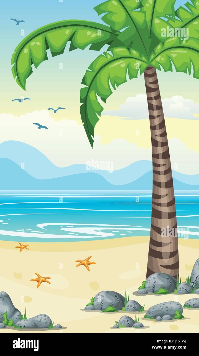 Cartoon Verticale Natura Tropicale Sfondo Per Schermo Di Cellulare E