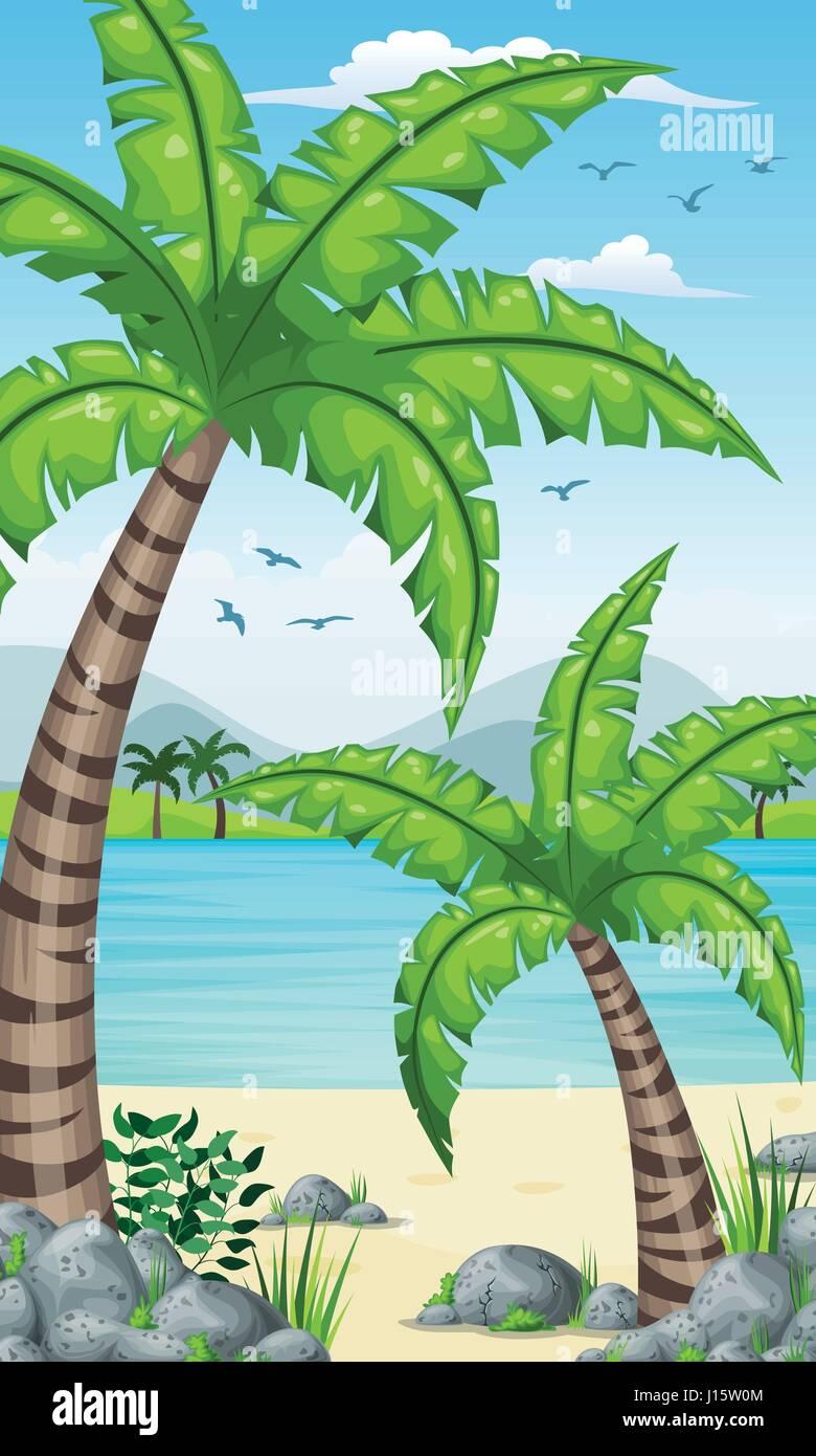 Verticale Costiere Tropicali Sfondo Per Schermo Di Cellulare