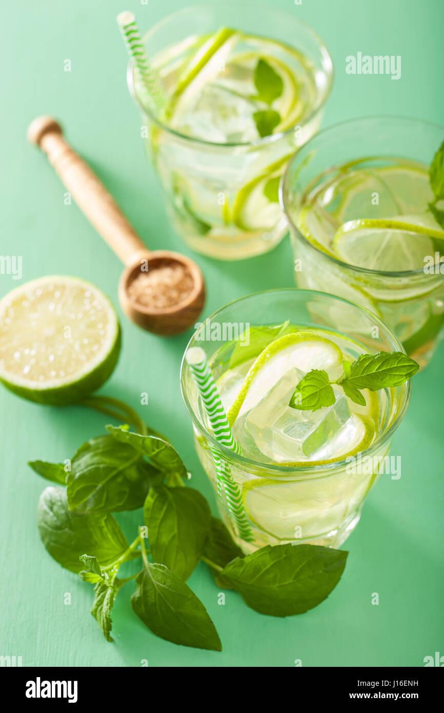 Cocktail mojito e ingredienti su sfondo verde Immagini Stock