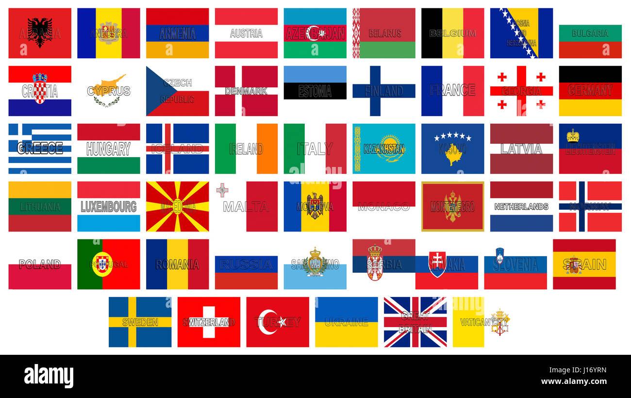 Illustrazione Di Tutti I Flag Di Europa Con I Paesi Nomi Scritti
