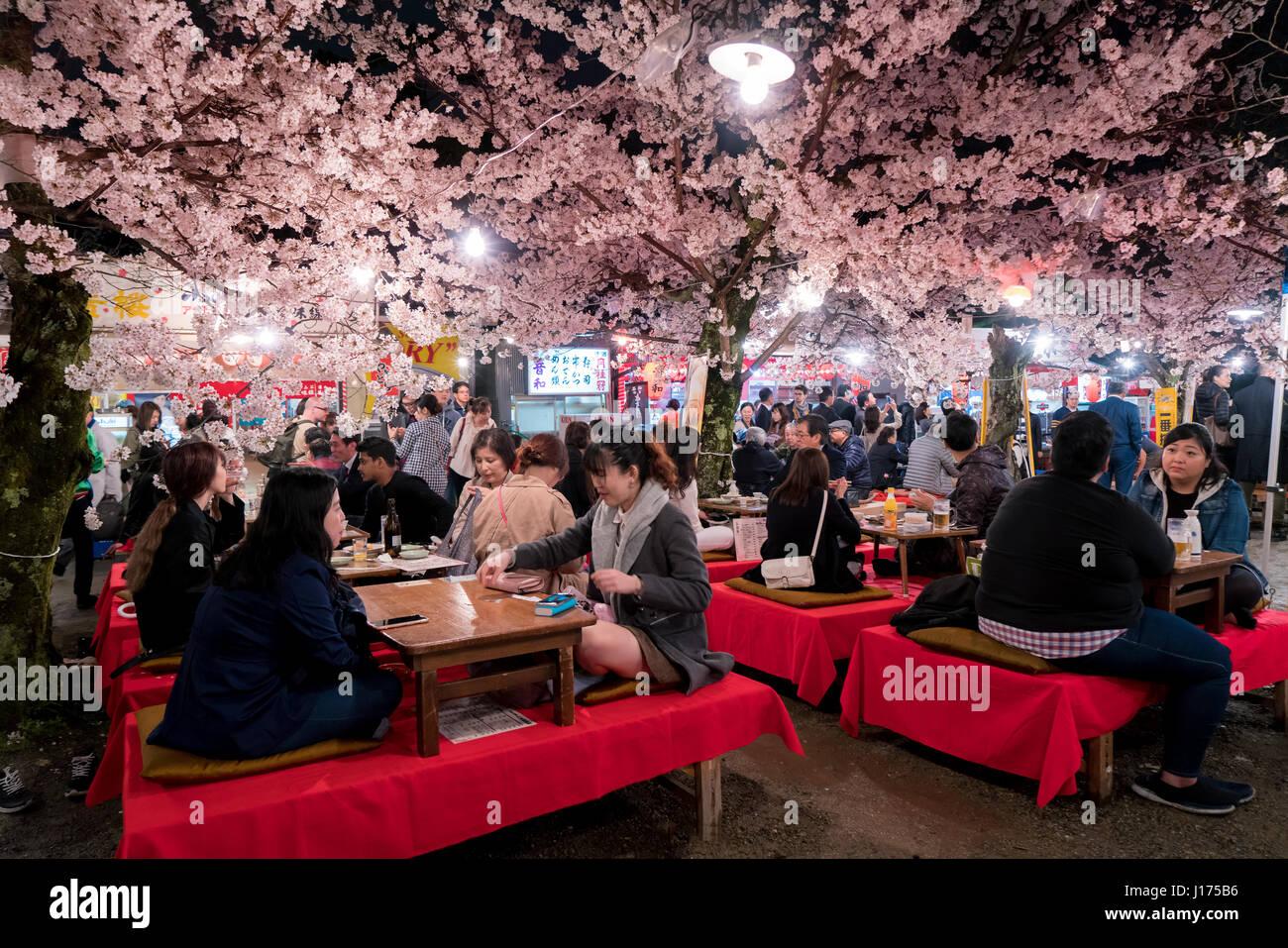 KYOTO, Giappone - Aprile 7, 2017: Giappone folla godetevi la primavera fiori di ciliegio a Kyoto per la partecipazione Immagini Stock