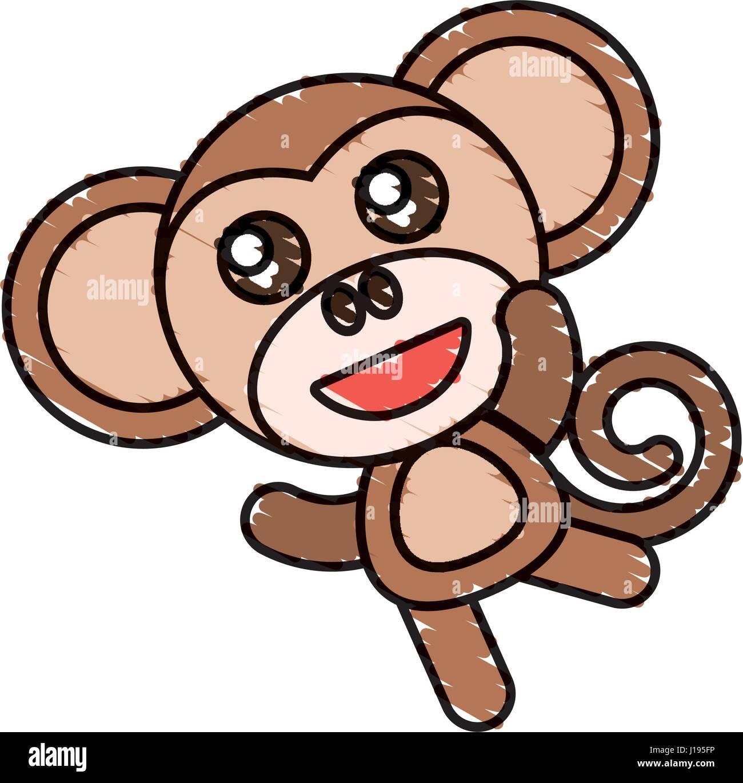 Disegno Di Scimmia Personaggio Animale Illustrazione Vettoriale