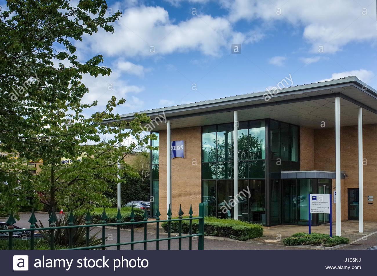 Obiettivo Carl Zeiss Microscopia Ltd, Coldhams Lane, Cambridge Regno Unito Immagini Stock