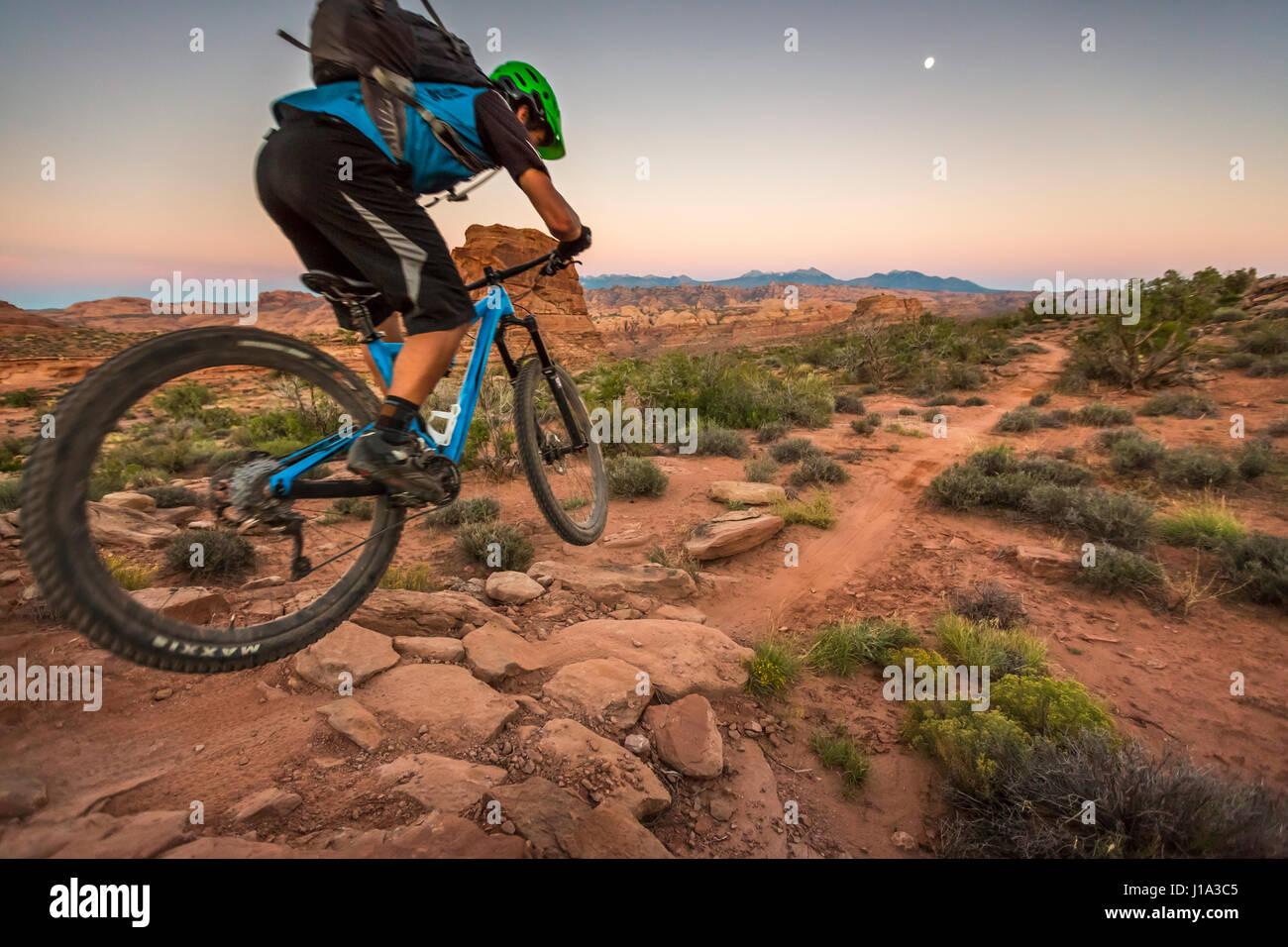 Tyson Swasey ciclismo di montagna sul sentiero Hymasa, Moab, Utah. Immagini Stock