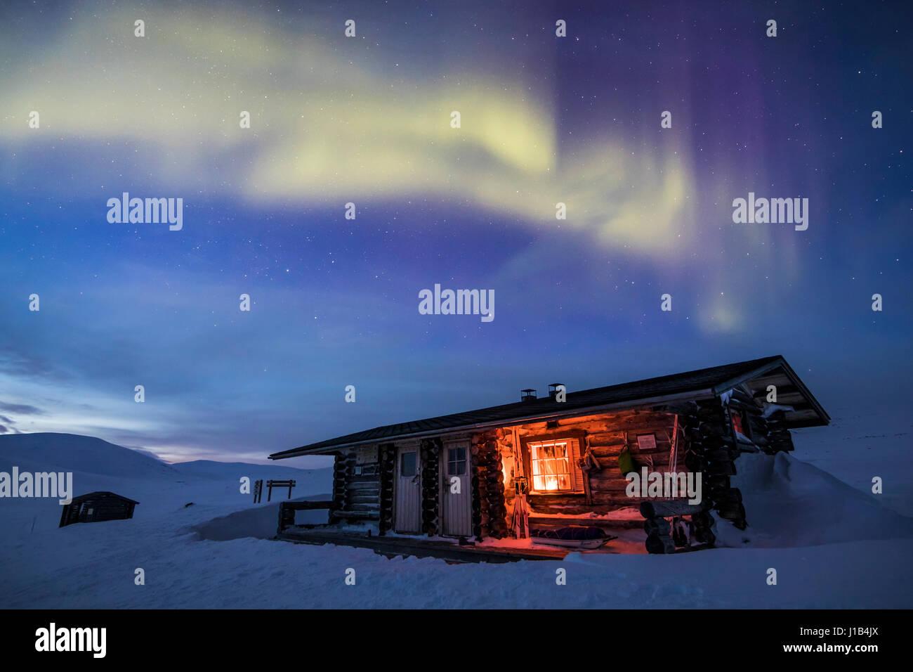 Aprire pihtsusjärvi wilderness hut Immagini Stock