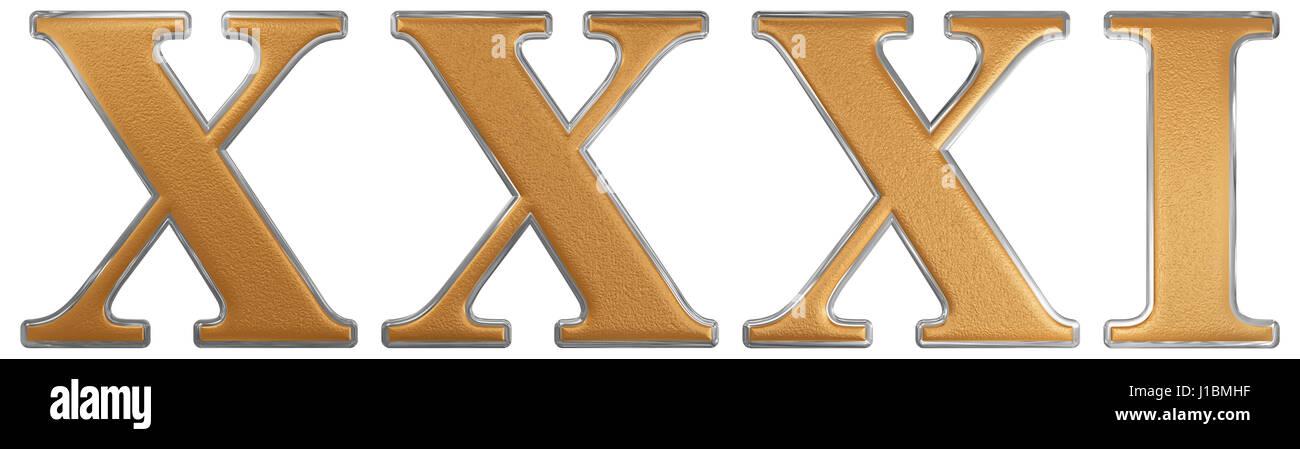 Numero Romano Xxxi Unus Et Triginta 31 Trenta Uno Isolati Su