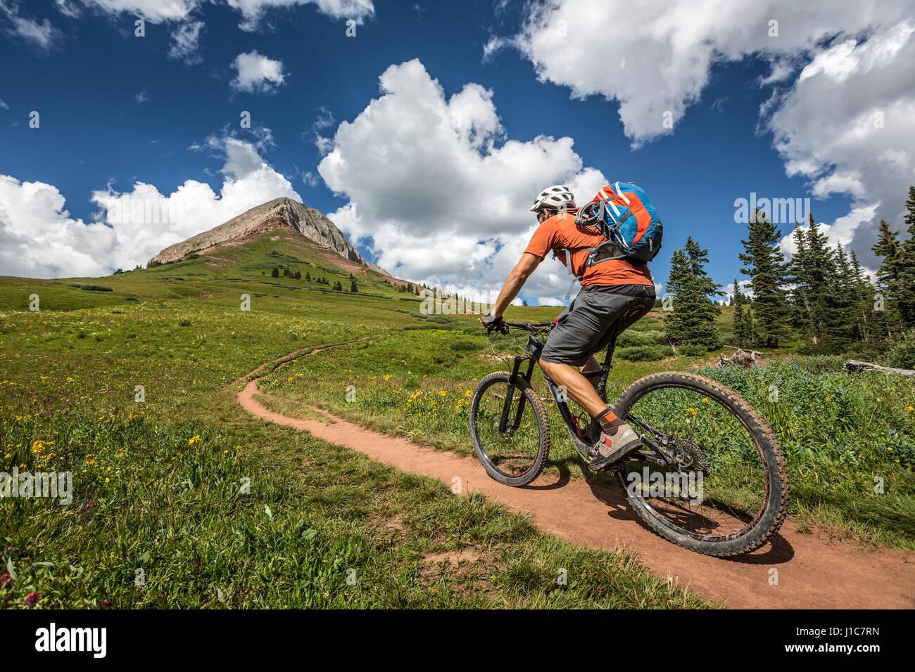 Eric Odenthal mountain bike fino il pass trail tecnico verso la montagna, Colorado. Immagini Stock