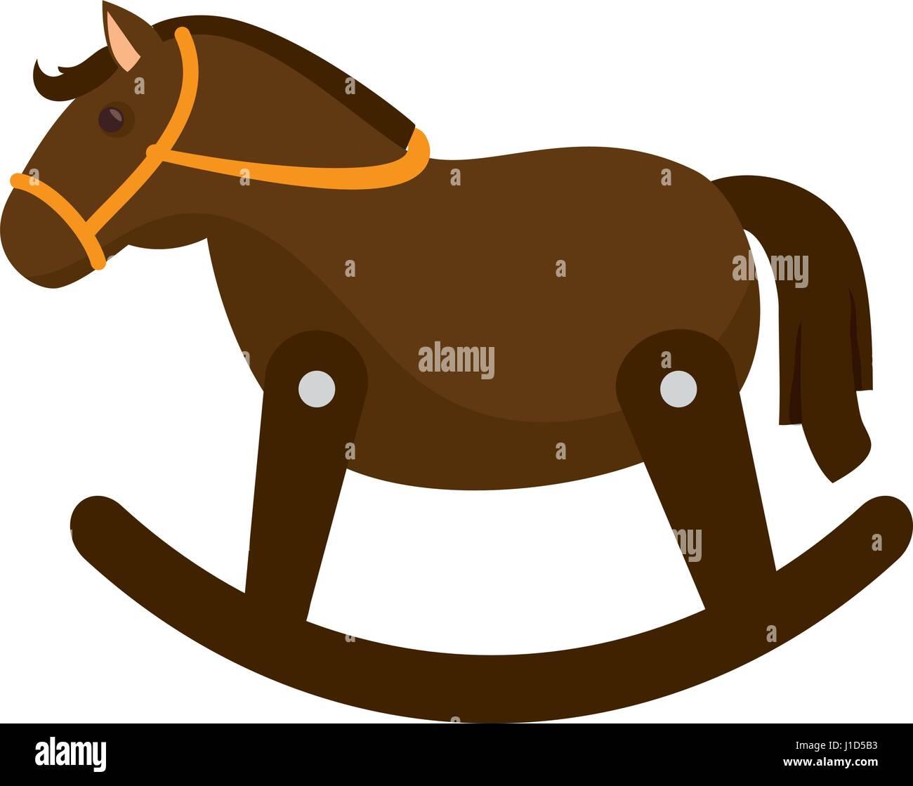 Cavallo Di Legno Giocattolo.Cavallo Di Legno Giocattolo Carino Illustrazione Vettoriale