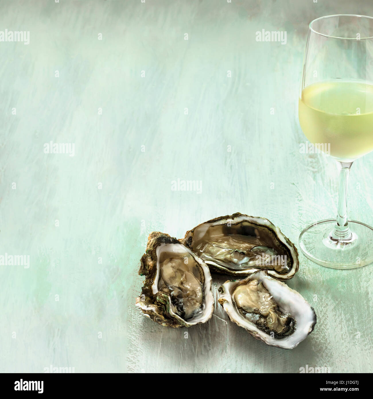 Il vino bianco e le ostriche foto con copyspace Immagini Stock