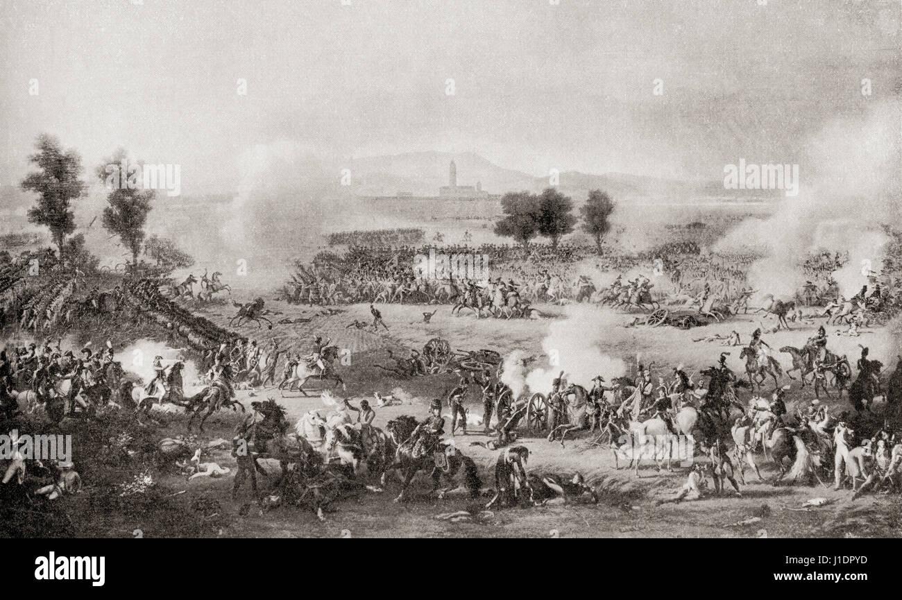 La Battaglia di Marengo, 14 giugno 1800, combattuto tra forze Francesi di Napoleone Bonaparte e forze austriache Immagini Stock