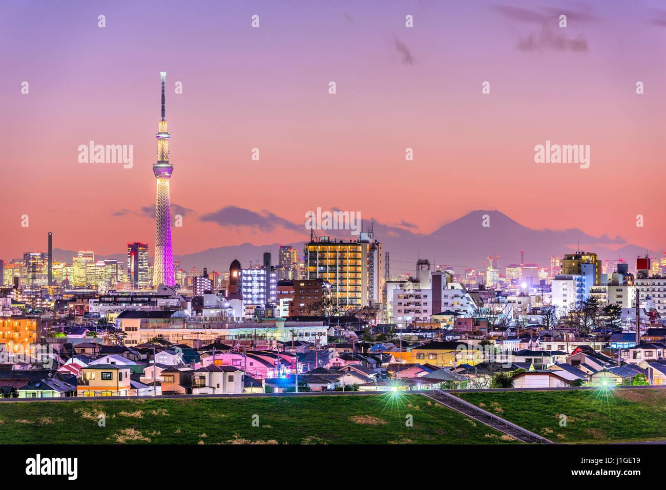 Tokyo, Giappone skyline con Mt. Fuji e la Torre Skytree. Foto Stock