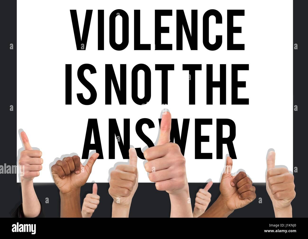 Composito Digitale del pollice in alto la violenza non è la risposta Immagini Stock