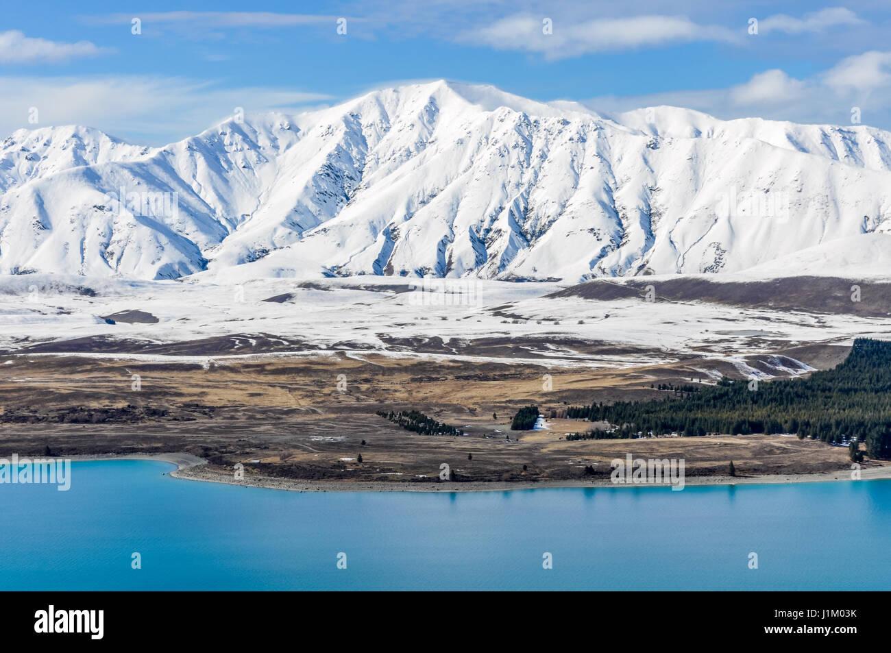 Vista panoramica del Lago Tekapo, Isola del Sud della Nuova Zelanda Immagini Stock