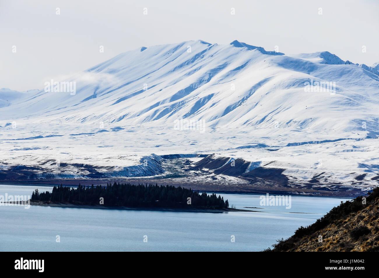Vista di una piccola isola del Lago Tekapo, Isola del Sud della Nuova Zelanda Foto Stock