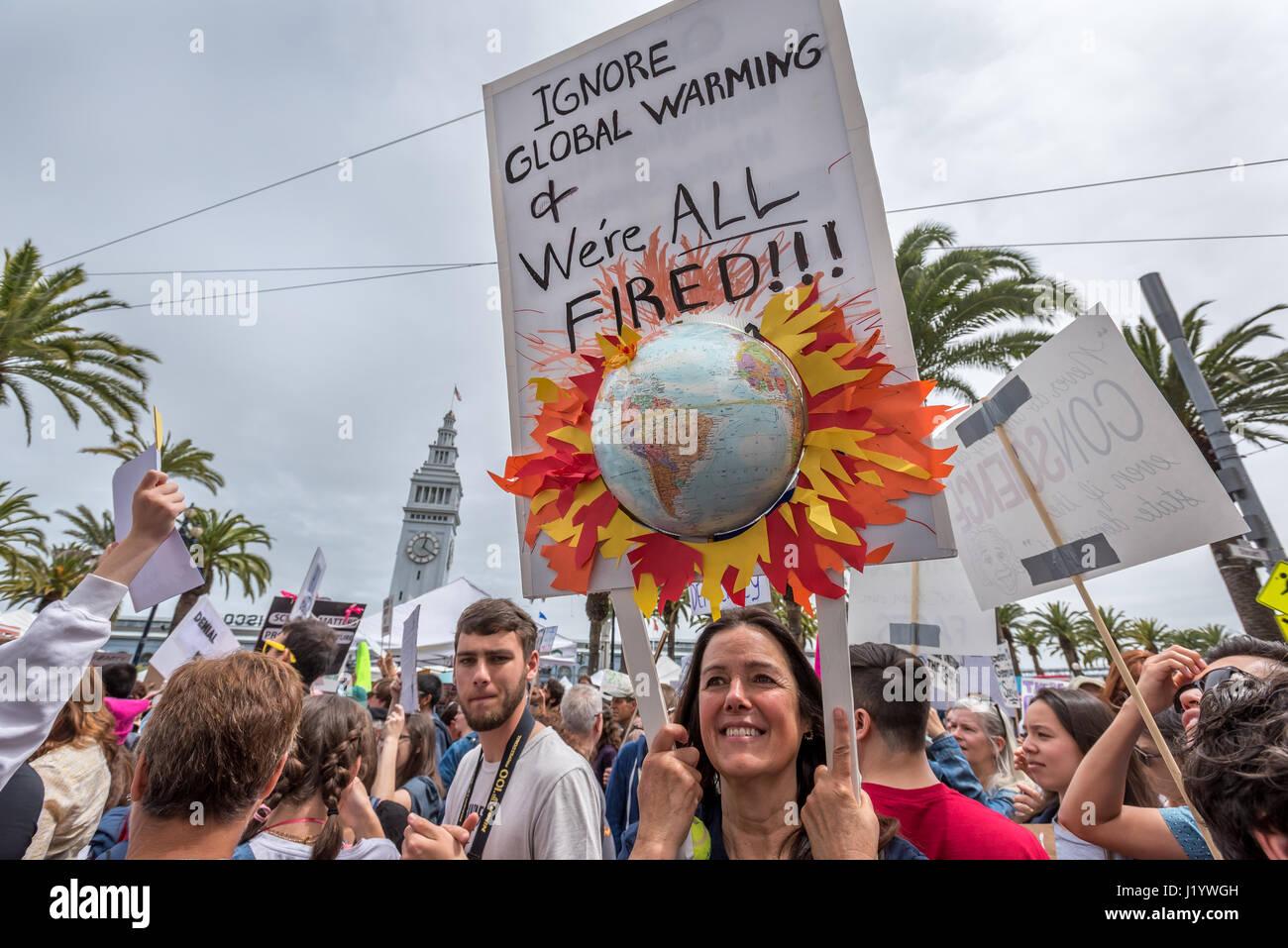 """San Francisco, California, Stati Uniti d'America. Il 22 aprile, 2017. """"Ignorare il riscaldamento globale Immagini Stock"""
