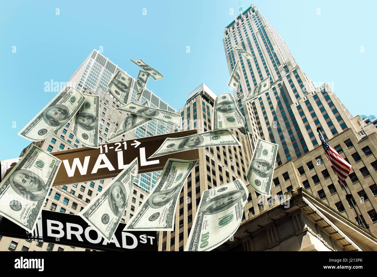 60d1d17bd4 Hundred Dollar Bills denaro cadere gli edifici del Wall Street. La  segnaletica stradale in Wall street corner Broad Street mostrano la  posizione.