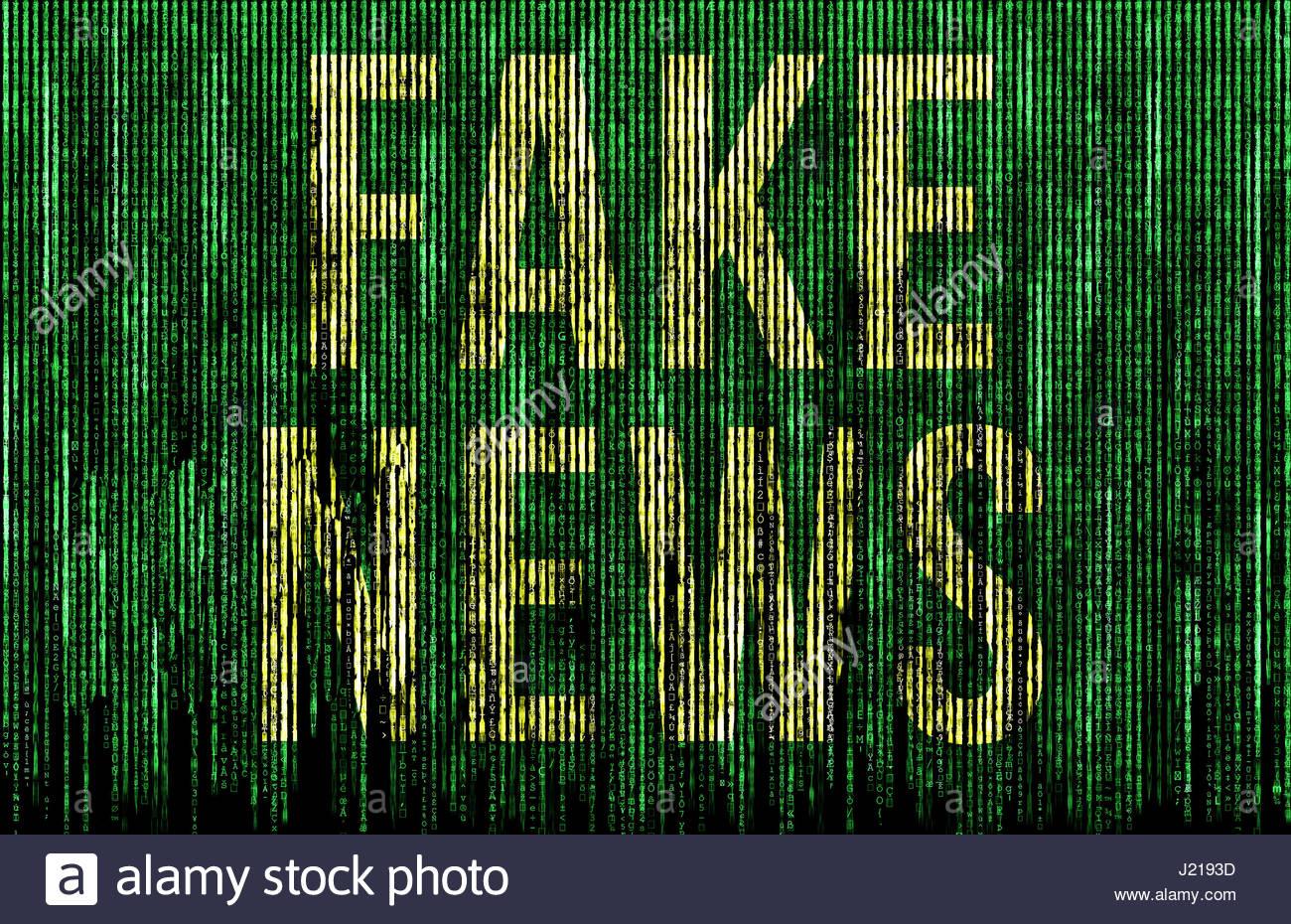 Fake News - matrice digitale illustrazione Immagini Stock