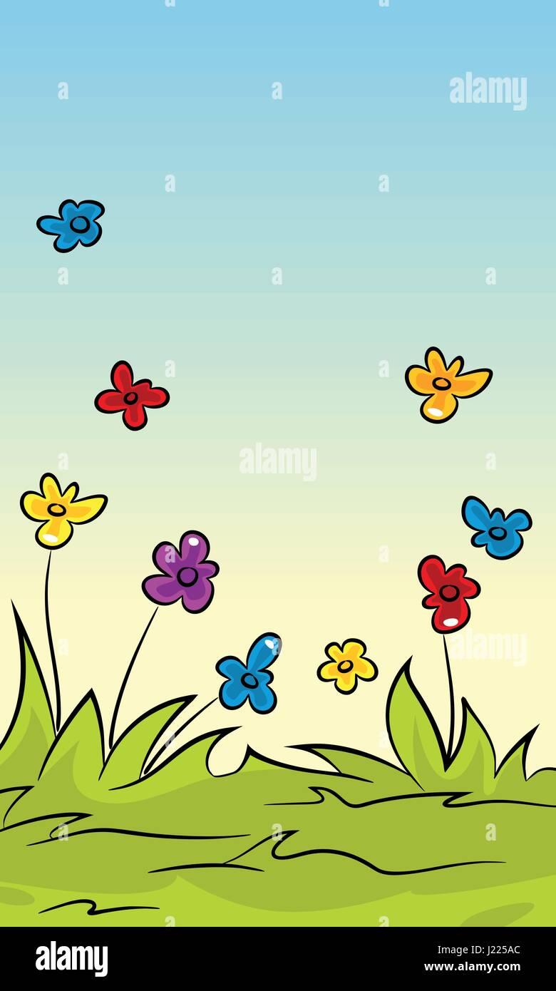 Cartoon Verticale Natura Sfondo Per Schermo Di Cellulare