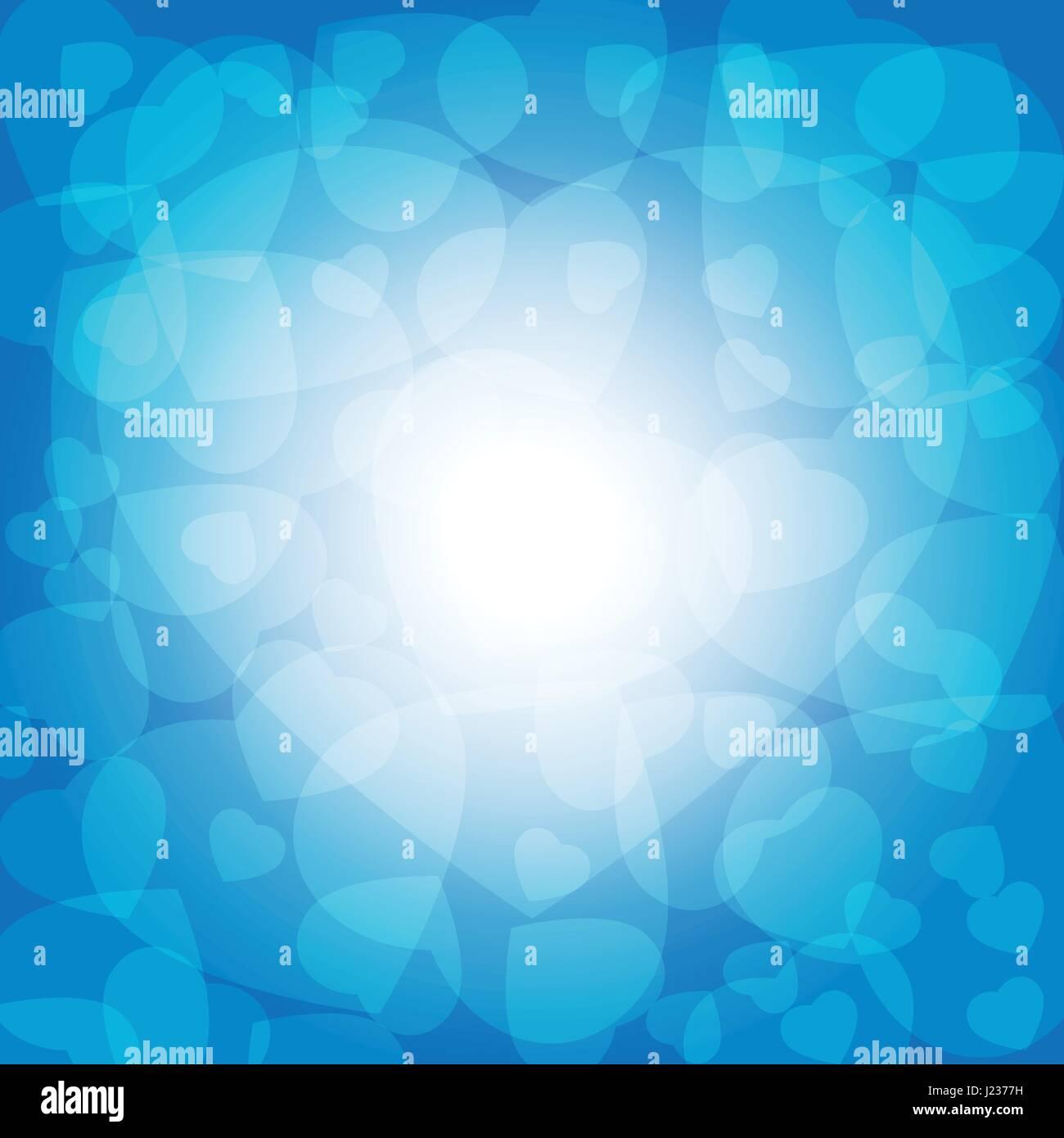 Multi Strato Trasparente Bianco Cuori Su Sfondo Blu Design