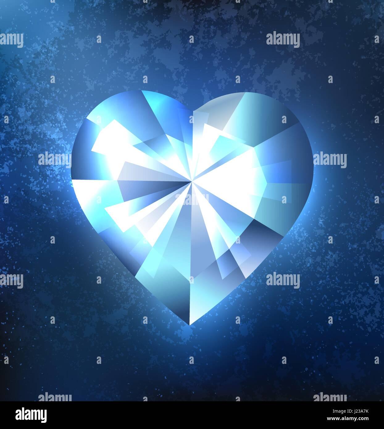 Cuore Poligonale Blu Trasparente Scintillanti Di Ghiaccio Su Uno