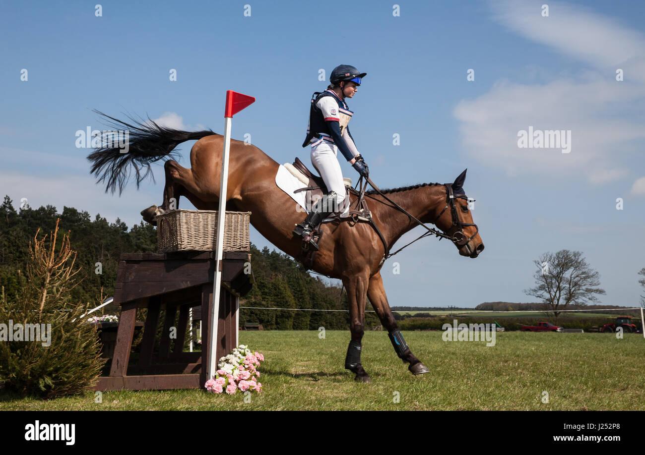 BURNHAM Market, Norfolk/Inghilterra - 13 Aprile 2017: Burnham Market International Horse Trials 2017 cross country Immagini Stock