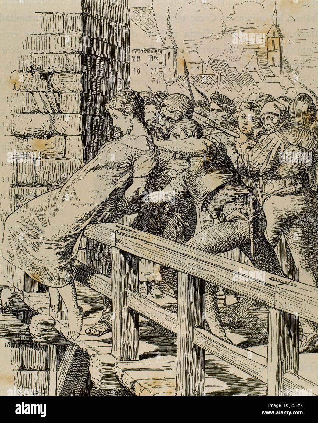 Germania. Medioevo. La punizione per un bambino killer. Incisione. 'Germania', 1882. Immagini Stock