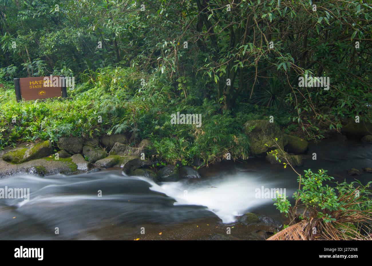 Haena Kauai Hawaii Haena parco dello stato corrente della cascata nella foresta di pioggia North Shore Foto Stock