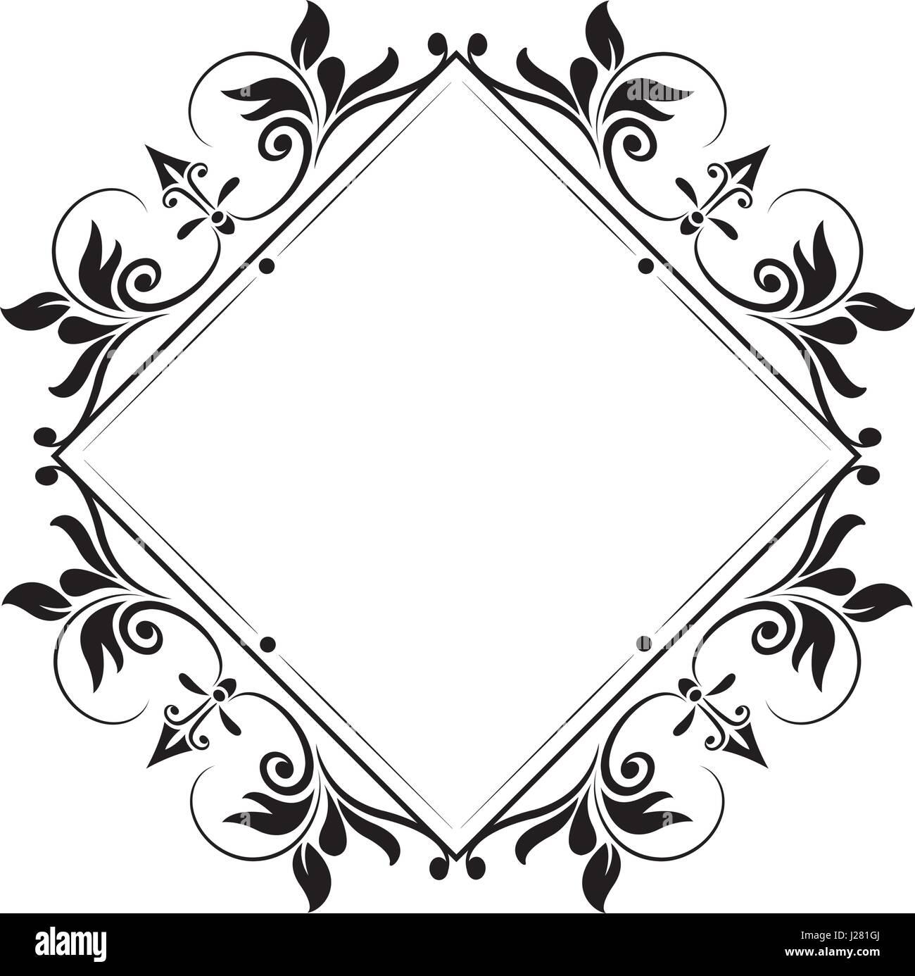Cornice decorativa vintage fiorire elegante immagine Immagini Stock