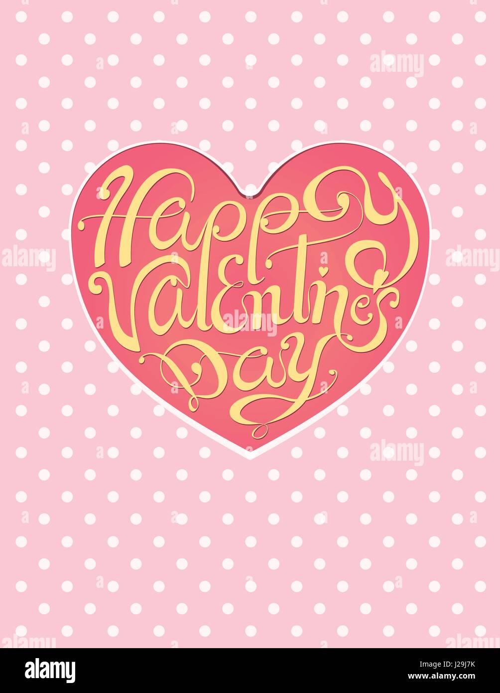 Felice Il Giorno Di San Valentino Vintage Scritte Sfondo Rosa A Pois