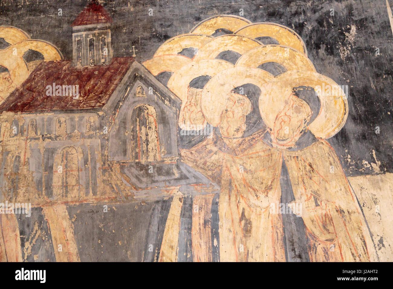 La Georgia, Mtskheta. Arte religiosa nella cattedrale di Svetitskhoveli. Immagini Stock